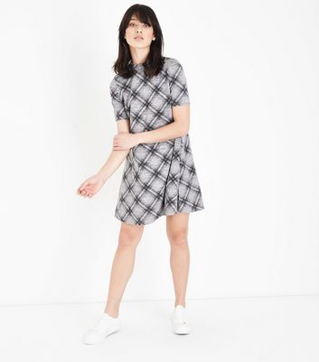 Light Grey Check Print Brushed Swing Dress New Look