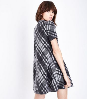 Black Brushed Check High Neck Swing Dress New Look