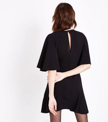Black Keyhole Tie Front Mini Dress New Look