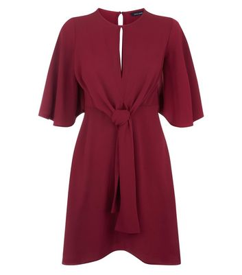 Burgundy Keyhole Tie Front Mini Dress New Look