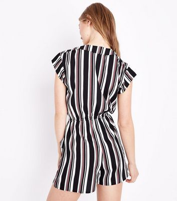 Black Stripe Wrap Front Playsuit New Look
