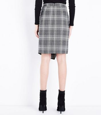 Light Grey Glitter Check Wrap Front Skirt New Look