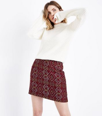 Red Aztec Jacquard Mini Skirt New Look