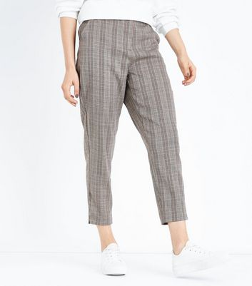 Brown Check Slim Leg Trousers New Look