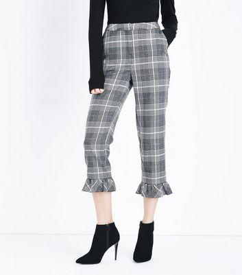 Light Grey Glitter Check Frill Hem Trousers New Look