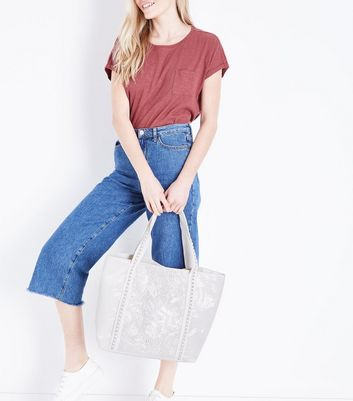 White Beaded Front Tote Bag New Look