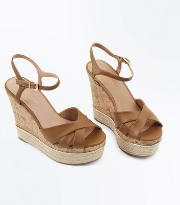 Tan Cross Strap Metal Trim Cork Wedges New Look