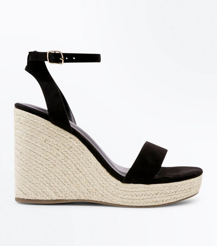 7bc50afb6 Black Suedette Ankle Strap Espadrille Wedges | New Look