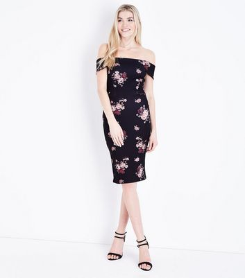 Black Floral Bardot Neck Bodycon Dress New Look