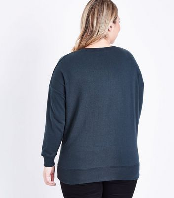 Curves Dark Green Baseball Print Sweatshirt New Look