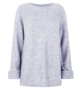 Apricot Pale Grey Fuzzy Oversized Jumper New Look