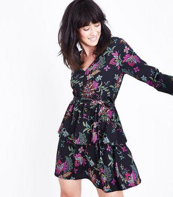 Black Floral Tiered Mini Dress New Look