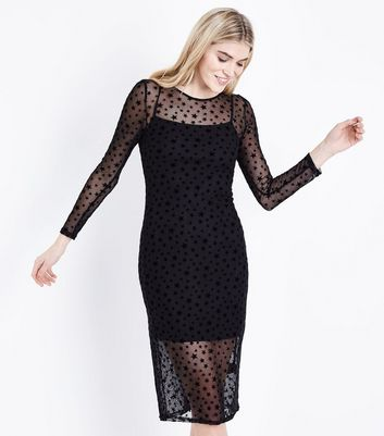 Black Star Mesh Long Sleeve Midi Dress New Look