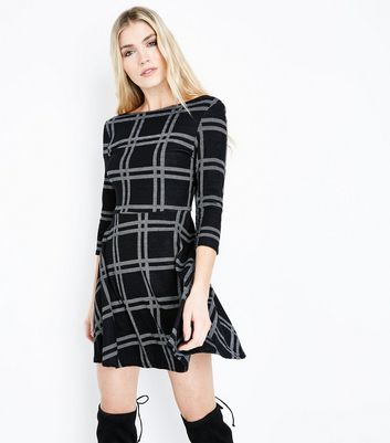 Black Check Scoop Back Skater Dress New Look