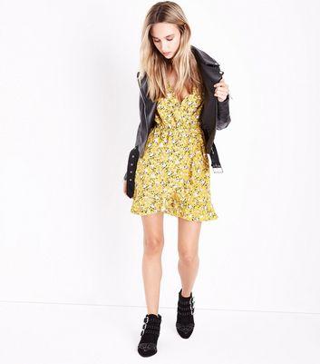 Yellow Floral Print Frill Trim Dress New Look