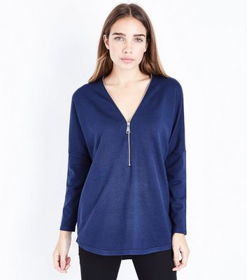 Apricot Navy Zip Front Jumper New Look