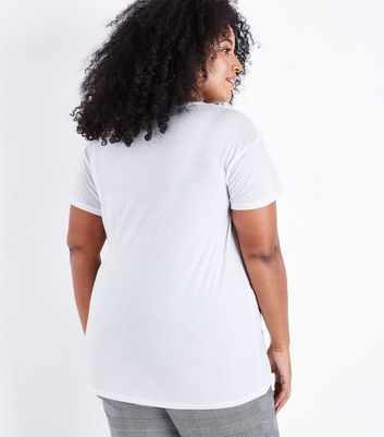 Curves White Pearl Embellished NYC Print T-Shirt New Look