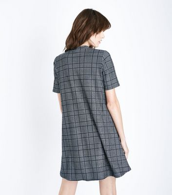 Grey Glitter Check Swing Dress New Look