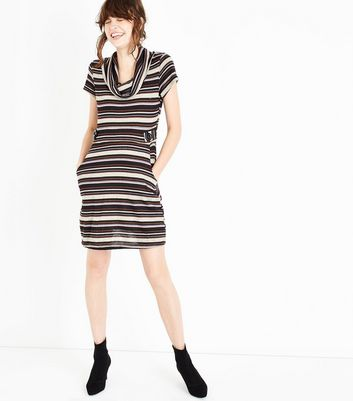 QED Cream Stripe Cowl Neck Dress New Look