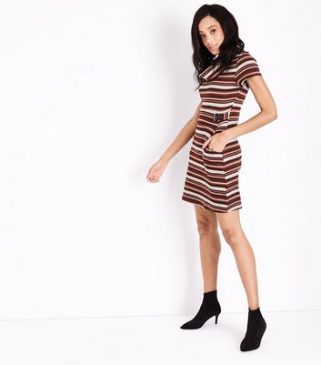 QED Red Stripe Cowl Neck Dress New Look