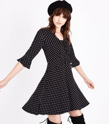 Black Spot Print Lace Up Frill Trim Skater Dress New Look