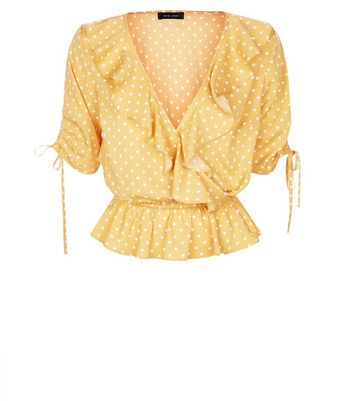 Yellow Spot Print Wrap Front Frill Top New Look