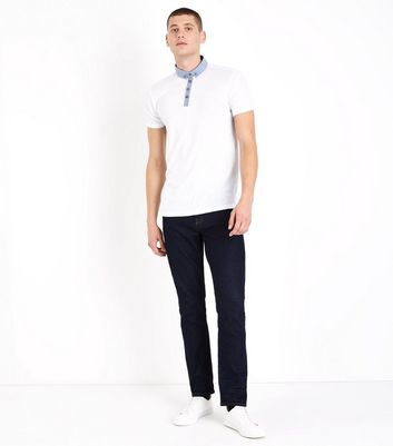 White Chambray Collar Polo T-Shirt New Look