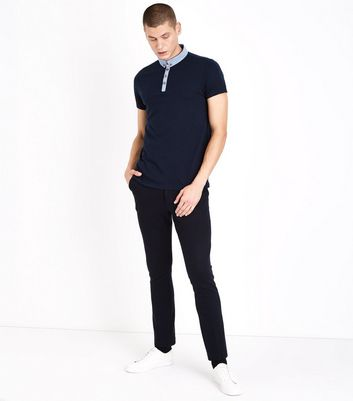 Navy Chambray Collar Polo T-Shirt New Look