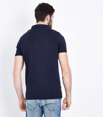 Navy Pocket Front Polo T-Shirt New Look