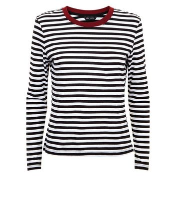 White Stripe Long Sleeve Ringer T-Shirt New Look