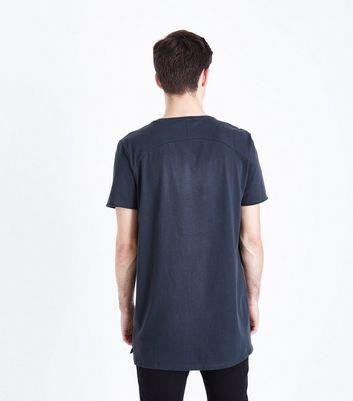 Dark Grey Distressed Longline T-Shirt New Look