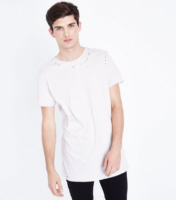 Cream Distressed Longline T-Shirt New Look