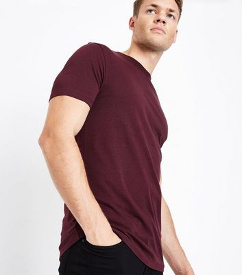 Burgundy Muscle Fit T-Shirt New Look