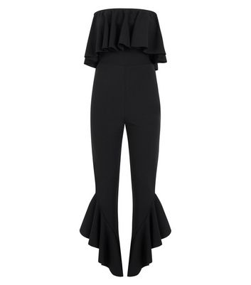 Black Frill Hem Bandeau Jumpsuit New Look