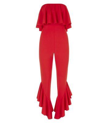 Red Frill Hem Bandeau Jumpsuit New Look