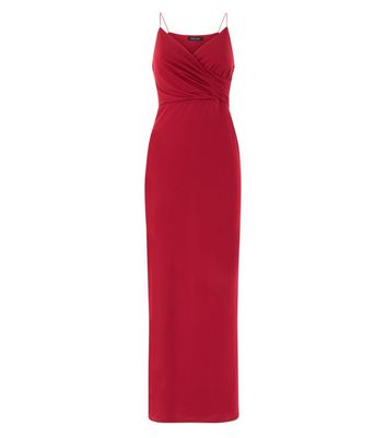 Burgundy Ruched Front Maxi Dress New Look