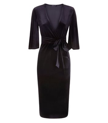 Black Velvet Wrap Front Midi Dress New Look