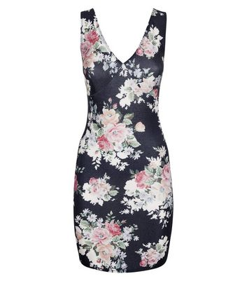 Black Glitter Floral Print Bodycon Dress New Look