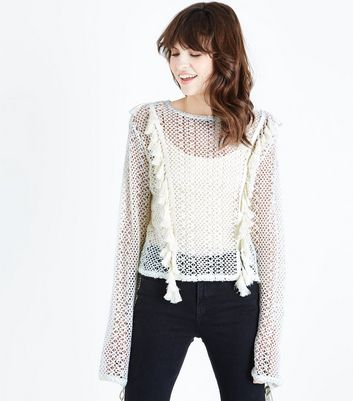 Cream Fringed Lace Knit Jumper