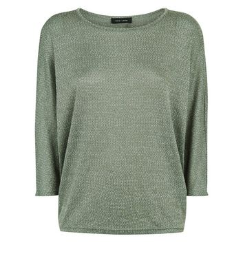 Olive Green Fine Knit Batwing Sleeve Top New Look