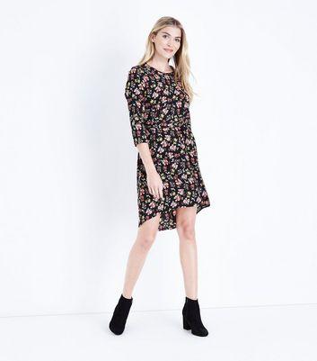 Black Floral Crepe Dip Hem Tunic Dress New Look