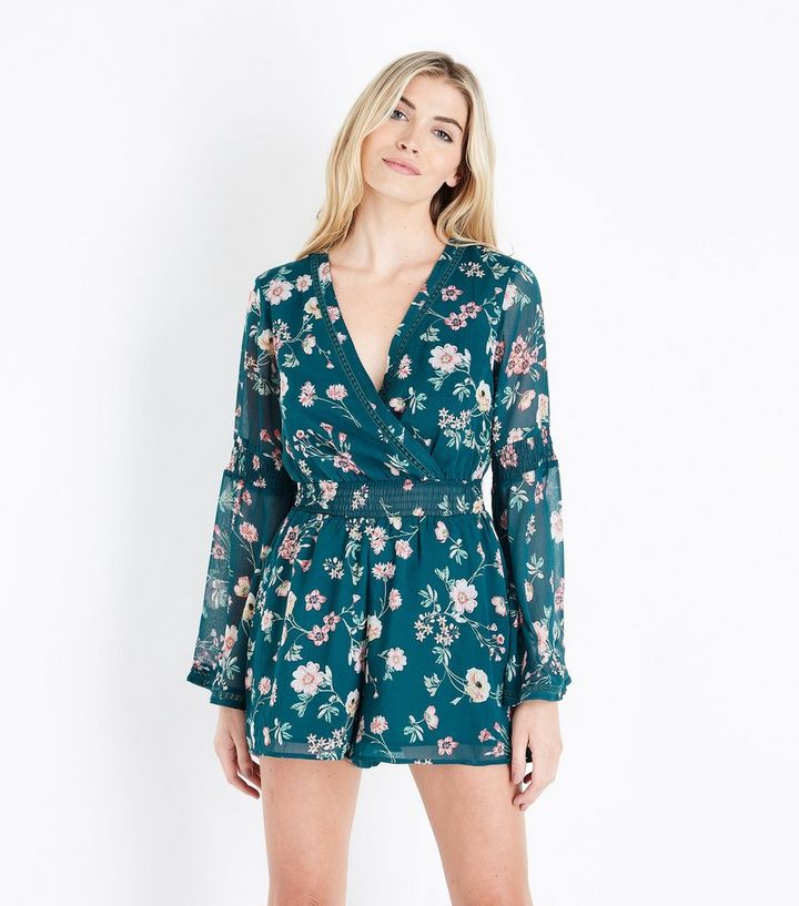 eaab5e793f0 Green Floral Print Chiffon Long Sleeve Playsuit