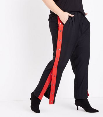 Curves Black Popper Side Stripe Trousers New Look