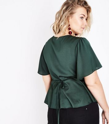 Curves Dark Green Satin Button Front Blouse New Look
