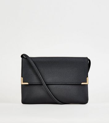 Black Metal Trim Flat Cross Body Bag