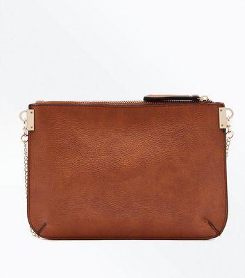 Tan New Look Branded Chain Shoulder Bag New Look