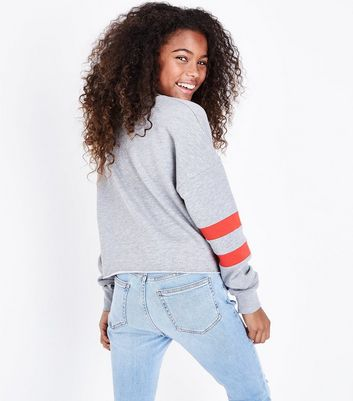 Teens Grey Brooklyn NY Glitter Stripe Sleeve Sweatshirt New Look