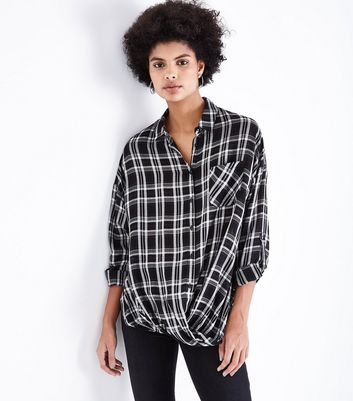 Black Check Twist Front Shirt New Look