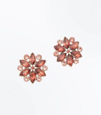 Pink Gem Embellished Flower Earrings New Look