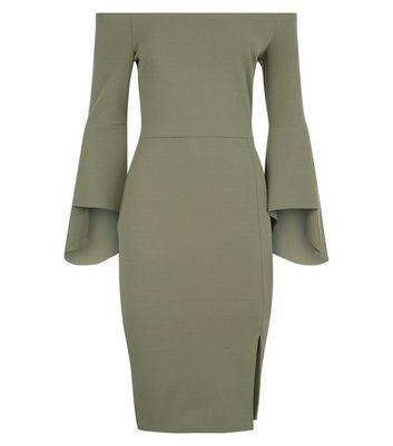 Khaki Bell Sleeve Bardot Neck Pencil Dress New Look